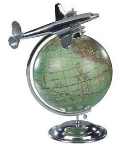 Art Deco World Globe Aluminum Super Constellation Aeroplane