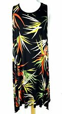 JOSTAR NEW ARRIVAL LARGE 2-Pointed Knee-Length Tropical Palm Print Dress (A)
