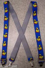 "Suspenders Children 1""x30"" FULLY Elastic Rubber Duckies NEW Yellow on Blue"