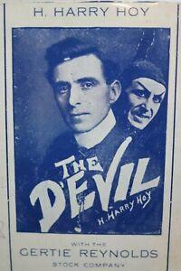 Devil Harry Hoy Gertie Reynolds Poster Lobby card Theatre 1909 Dallas TX Molnár