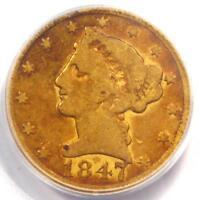 1847-C Liberty Gold Half Eagle $5 - PCGS VG8 - Rare Charlotte Gold Coin!