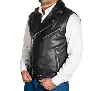 Mens Classic Black Brando biker Style Real Leather Fitted Jacket With Waist Belt
