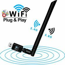 USB WiFi Adapter, Wireless Adapter 600Mbps Dual Band 2.4GHz/5.8GHz LAN Card 802.