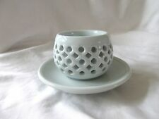 Double Layer Heat Resistant Ceramic Tea Cup w/ Plate Light Blue Signed