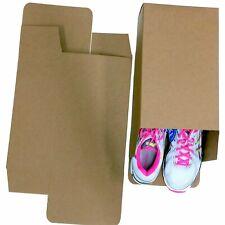 50 Large Shoe Box Reverse Tuck Cartons 13x8x5 Kraft Brown Folding Chipboard