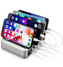 USB Charging Station Dock 4-Port - Multi Device Charger Organizer -Silver