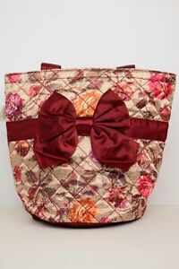 NaRaYa Womens Flower Print Tote Bag with Bow Accent Imported from Thailand