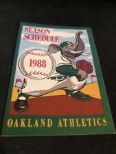 1988 Oakland A's Baseball Pocket Schedule Leaf Candy Version Elephant Logo