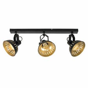 MiniSun Ceiling Light - Industrial Black & Gold Design 3 Way Fitting LED Bulbs