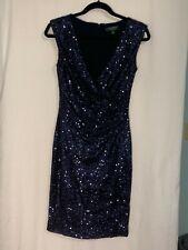 Ralph Lauren Evening Size 4 Blue Sequin Ruching Cocktail Evening Dress Lined