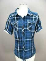 BKE SIZE XL(14-16) BOYS YOUTH BLUE PLAID SHORT SLEEVE BUTTON-DOWN SHIRT 022