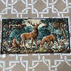 "Vintage Deer Tapestry Buck & 2 Doe in Forest Made in France 37""x20"""