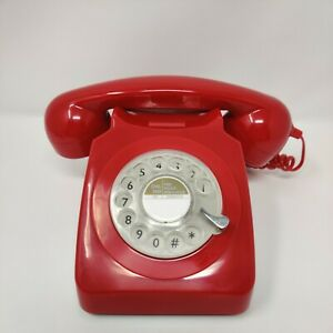 GPO 746 rotary dial vintage style phone in bright red Rotary Telephone Modern
