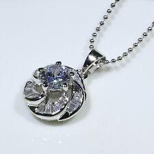 18K White Gold Filled CZ Lady Women Fashion Jewelry Gift Necklace Pendant P0280