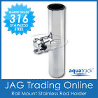 1 X Rail Mount 316 Stainless Steel Clamp-on Rod Holder - Boat Fishing Marine