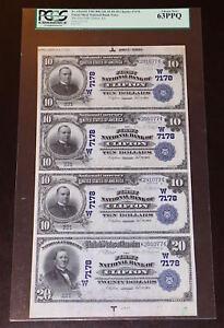 KS UNCUT SHEET OF FOUR 1902 $10/$20 DB ♚♚CLIFTON, KANSAS♚♚ PCGS CH NEW 63 PPQ