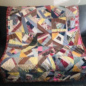 """Vintage Patchwork Crazy Quilt 45"""" x 64"""" Throw Multicolor Cotton Prints Folk Art"""