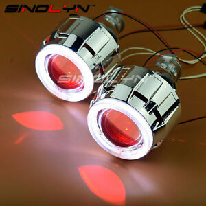 2.5'' HID Bixenon Projector Lens Headlight Angel Devil Demon Eyes Halo Retrofit