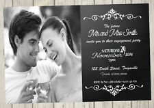 ENGAGEMENT PARTY Invitation Simple classic announcement save the date black Whit