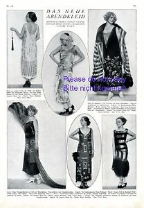 Abendkleid 20er Jahre XL 1924 Seite mit 6 Abb. Maria Ley Minzenti Wien Mode