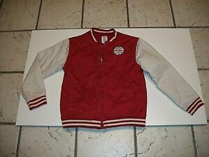 Gymboree Boys Fast Ball Varsity Jacket Size L (10-12) Red Ivory.
