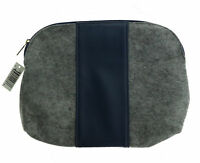 Women's Gray And Navy Blue Cosmetic Bag New