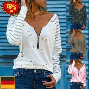 Damen Langarm V-Neck T-Shirt Bluse Freizeit Herbst Shirt Oberteile Tunika Tops