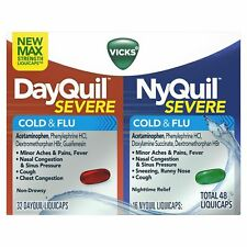 Vicks DayQuil Severe and NyQuil Severe Cold & Flu Relief LiquiCaps, 48 Ct