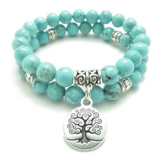 US SELLER Tree of Life Charm Turquoise DUO Bracelet Stretch Energy Natural Stone