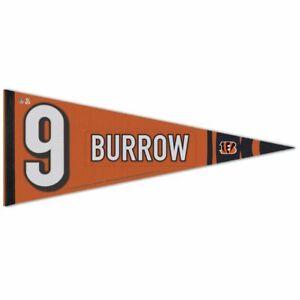 "JOE BURROW #9 CINCINNATI BENGALS ROLL UP FELT PREMIUM PENNANT 12''x30"" WINCRAFT"