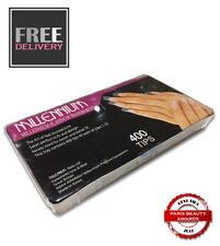 MILLENNIUM PLATINUM TRANSPARENT NAIL TIPS x 400 BOX ~ SIZES 1-10 ~ FREE P&P