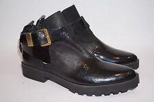 $225 MIISTA Alex Flat Shiny Black Leather Ankle Strap Low Booties Heel EU38 US 8