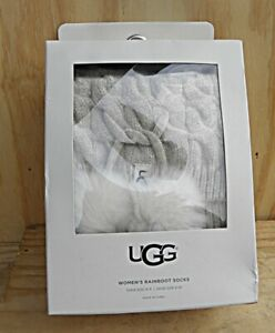 UGG Women's TALL Rainboot Socks Cream Heather with Pom Pom Sock 9-11 Shoe 5-10
