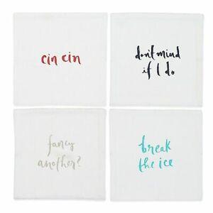 "Kate Spade 4 Small Talk 6"" x 6"" Cocktail Napkins White Break Ice Cin Cin NEW"