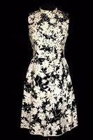 VINTAGE 1960'S BLACK & WHITE COTTON DESIGNER  FLORAL  DRESS & RHINESTONES SZ 6+