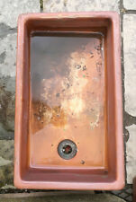 Vintage Rustic Clay Sink Reclaimed Brown Glazed Shallow Basin Bathroom #S28