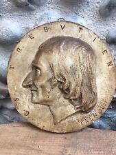 Platre patine sculpture Portrait De Trebutien Par Lehaivel Durocher Caen 1861