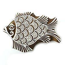 Handgeschnitzt Brown Fisch Holz dekorative Textildruck Blöcke Stempel PB2559A
