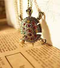 Retro Fashion Jewelry Rhinestone Tortoise Pendant Long Necklace Multicolor Stone