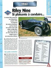 Riley Nine 1932 England Angleterre  UK Car Auto FICHE FRANCE