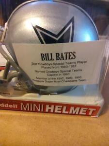 BILL BATES AUTOGRAPHED MINI HELMET DALLAS COWBOYS 3X SUPER BOWL CHAMPION TRISTAR