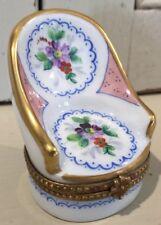 Limoges France High Back Chair Settee Pv Hinged Ring Trinket Box Peint Main Rare