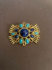 Capri signed Brooch  set in Faux Turquoise and Lapis