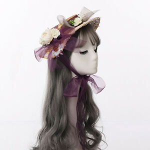 Girls Straw Hat Summer Hat Party Wedding Hat with Floral Bowknot Lolita
