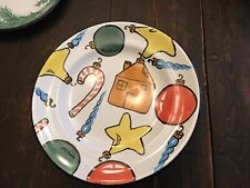 Herend Village Pottery Bread Plate Christmas Ornaments And Leaves Mint Used