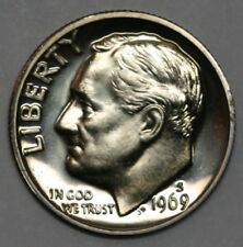 1969 S Roosevelt Dimel in Gem Cameo Proof Condition US Silver Coin