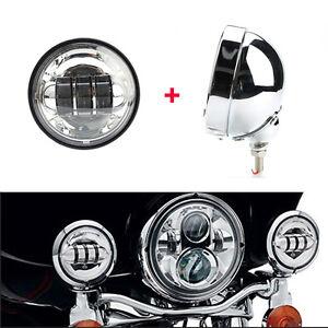 4.5'' Chrome Fog Light Passing Lamp &Outer Cover Housing Bracket Trim for Harley