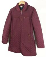 Hobbs Womens Burgundy Quilted Parka Coat Size 8 Jacket Long All Seasons