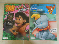 THE JUNGLE BOOK * DUMBO * BAMBI * 2 DISNEY COLORING AND ACTIVITY BOOKS * NEW