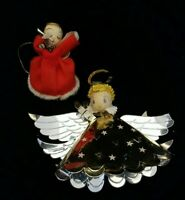 Pair of Vintage Angels Spun Cotton & Foil / Paper Mache Chenille Mercury Beads
